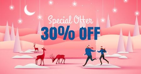 Plantilla de diseño de Special New Year Offer on Pink Facebook AD