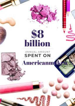 Makeup statistics Ad with Cosmetics