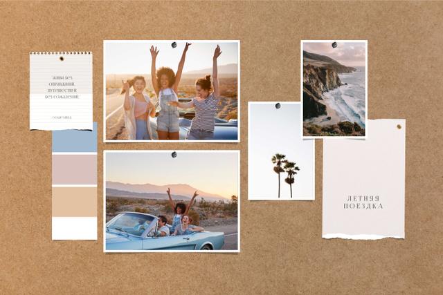 Young Girls having fun in Summer Mood Board – шаблон для дизайна