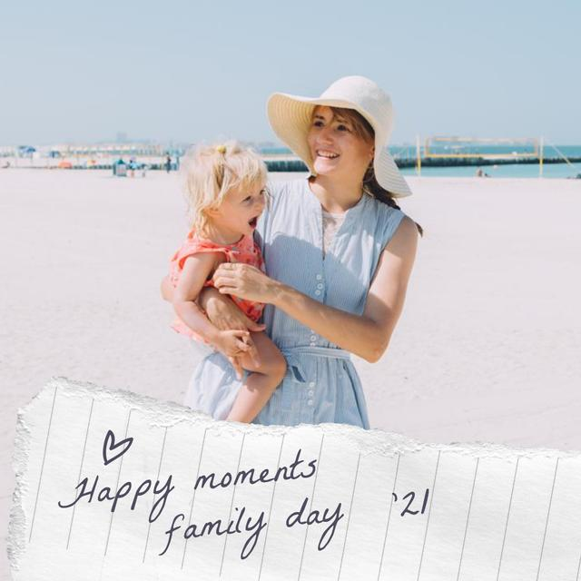 Family Day with Happy Mother holding Child Instagram Design Template
