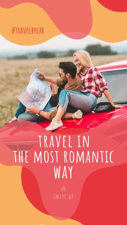 Couple travelling by car Instagram Story Design Template
