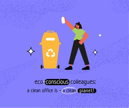 Eco Lifestyle Concept with woman recycle garbage Facebook Design Template