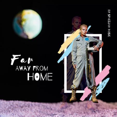 Platilla de diseño Music Album Promotion with Man in Astronaut Suit Instagram