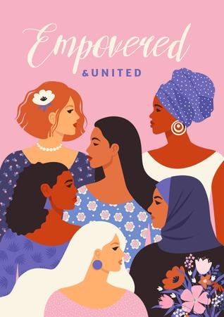 Template di design Girl Power Inspiration with Diverse Women Poster