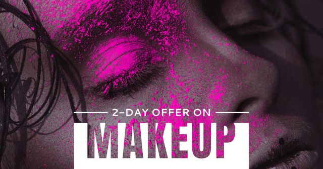 Beauty Services Offer with Woman in Bright Makeup Facebook AD Design Template