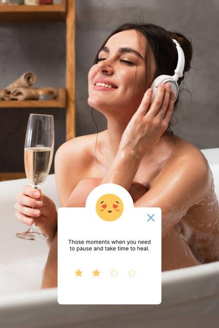 Mental Health Inspiration with Cozy relaxing Bath Pinterest – шаблон для дизайна