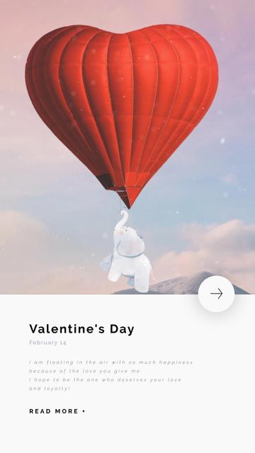 Plantilla de diseño de Elephant Flying on Valentine's Day Balloon Instagram Video Story