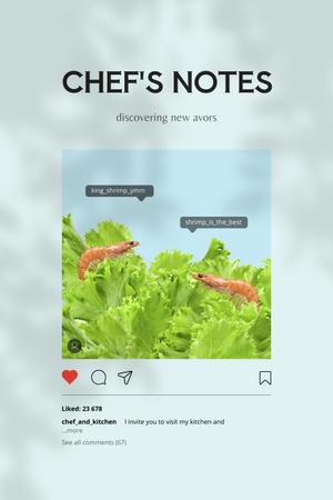 Funny Shrimps in Fresh Lettuce Pinterest Design Template