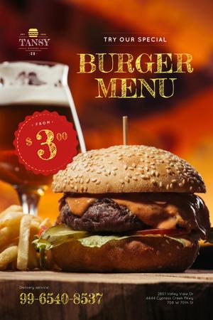 Fast Food Offer with Tasty Burger Pinterest Modelo de Design