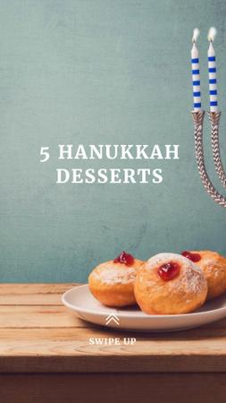 Plantilla de diseño de Hanukkah Desserts Ad with Cookies and Menorah Instagram Story