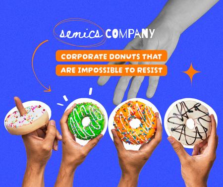 Delicious Bright Donuts in Hands Facebook Modelo de Design