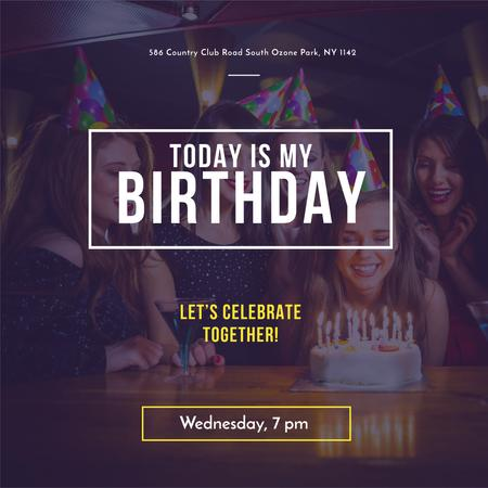 Birthday Invitation Girl blowing Candles on Cake Instagram AD Modelo de Design