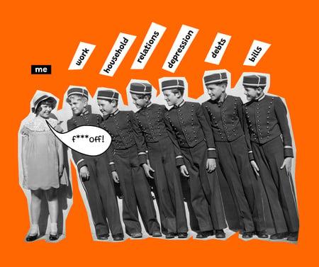 Plantilla de diseño de Funny Joke with Kids in Vintage Outfits Facebook