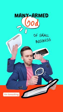 Ontwerpsjabloon van Instagram Story van Funny Multitasking Man at Workplace