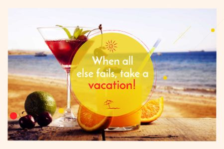 Modèle de visuel Summer cocktail on tropical vacation - Gift Certificate