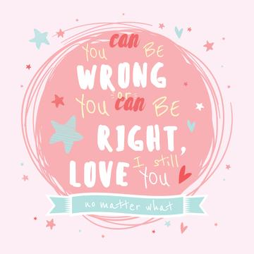 Love Quote Circle Drawing in Pink