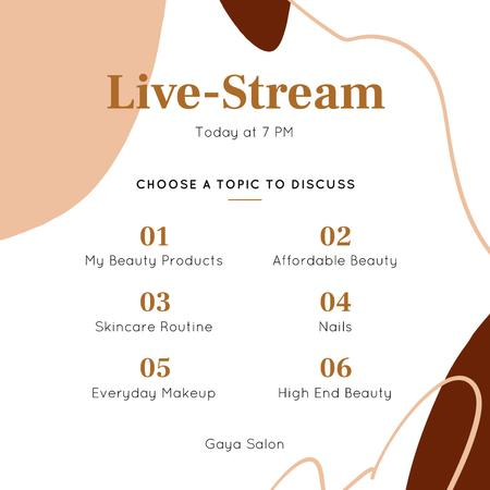 Plantilla de diseño de Live Stream Ad of Beauty topics Instagram