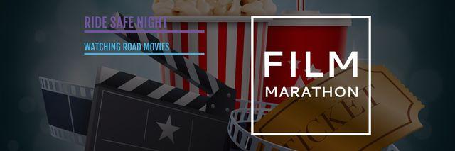 Movie Night Invitation Cinema Attributes Twitter – шаблон для дизайна