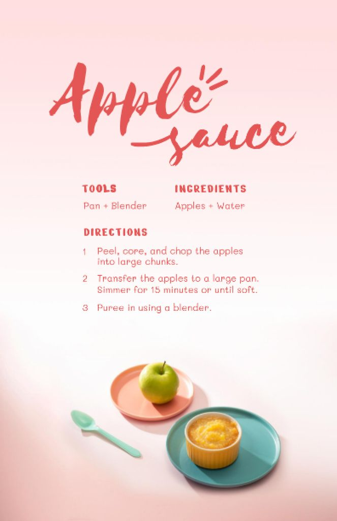 Apple Sauce Cooking Steps Recipe Cardデザインテンプレート