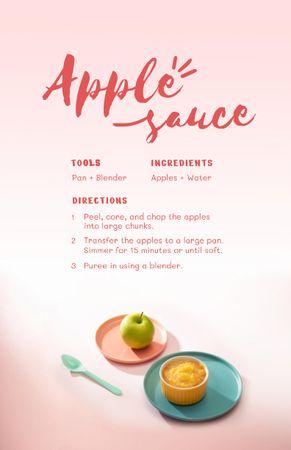Platilla de diseño Apple Sauce Cooking Steps Recipe Card
