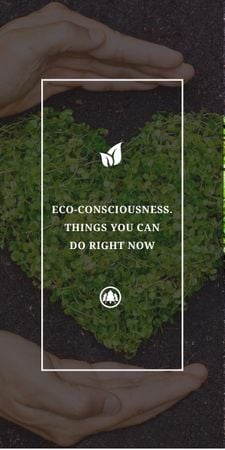 Eco Quote on Heart of Leaves Graphic – шаблон для дизайна