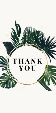 Modèle de visuel Thank You card with Tropical Leaves - Graphic
