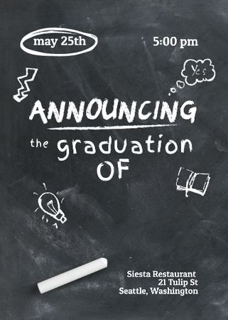 Graduation Announcement with Drawings on Blackboard Invitation – шаблон для дизайна