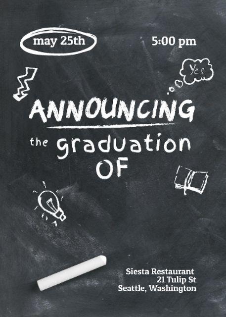 Graduation Announcement with Drawings on Blackboard Invitation Modelo de Design