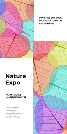 Nature Expo announcement with colorful leaves Graphic Design Template