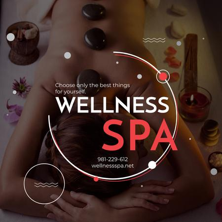 Wellness Spa Ad Woman Relaxing at Stones Massage Instagram AD Tasarım Şablonu