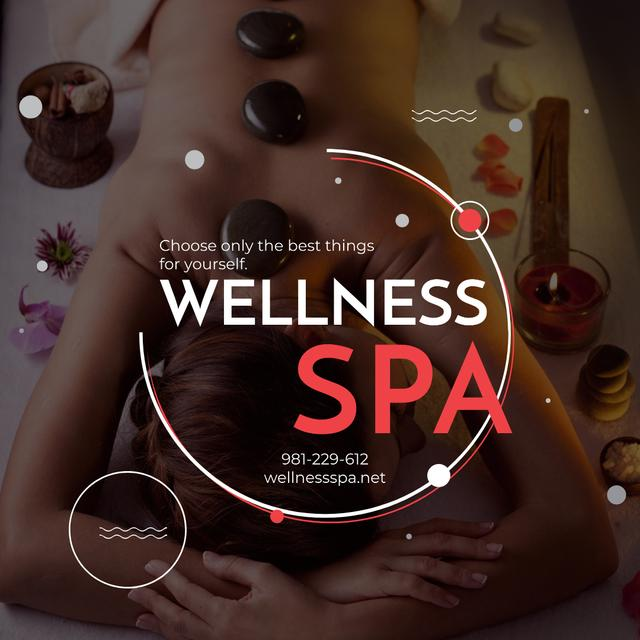 Wellness Spa Ad Woman Relaxing at Stones Massage Instagram AD – шаблон для дизайна