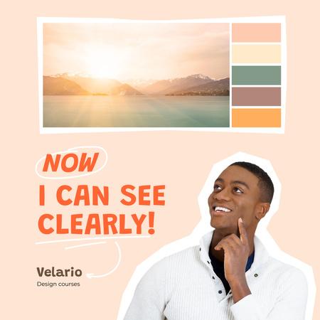 Design Courses Ad with Picture Texture Instagram – шаблон для дизайну