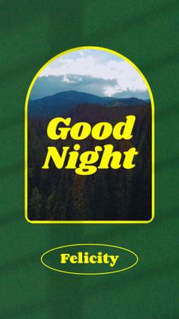 Designvorlage Good Night Wishes with Mountains Landscape für Instagram Video Story