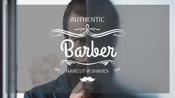 Barbershop Ad Man with Beard and Mustache