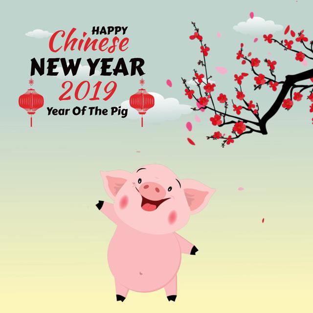 Plantilla de diseño de Happy Chinese Pig New Year Animated Post
