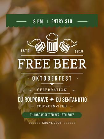 Template di design Octoberfest invitation with Beer and hop Poster US