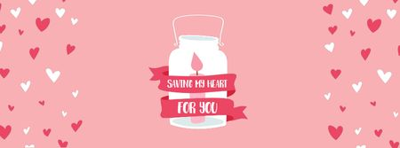 Szablon projektu Valentine's Day Card with Pink Candle in Glass Bank  Facebook Video cover