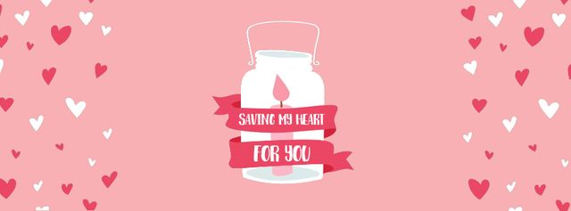 Valentine's Day Card with Pink Candle in Glass Bank  Facebook Video cover Tasarım Şablonu