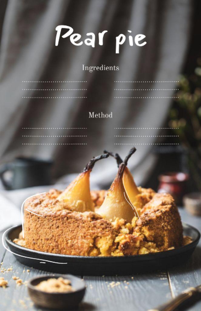 Delicious Pear Pie Cooking Steps Recipe Card – шаблон для дизайну