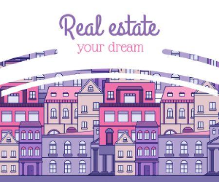 Real Estate Ad with Modern Buildings Medium Rectangle Modelo de Design