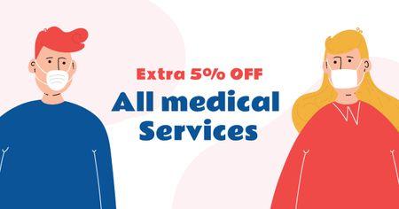 Modèle de visuel Healthcare services offer with people wearing Masks - Facebook AD