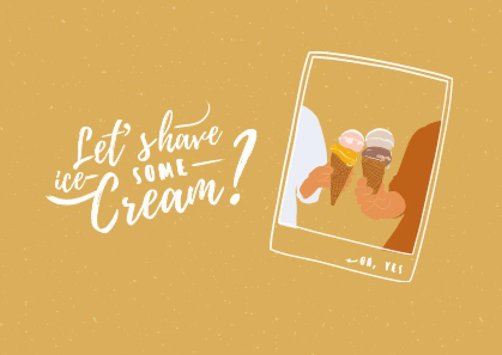 Modèle de visuel People holding Delicious Ice Cream - Card