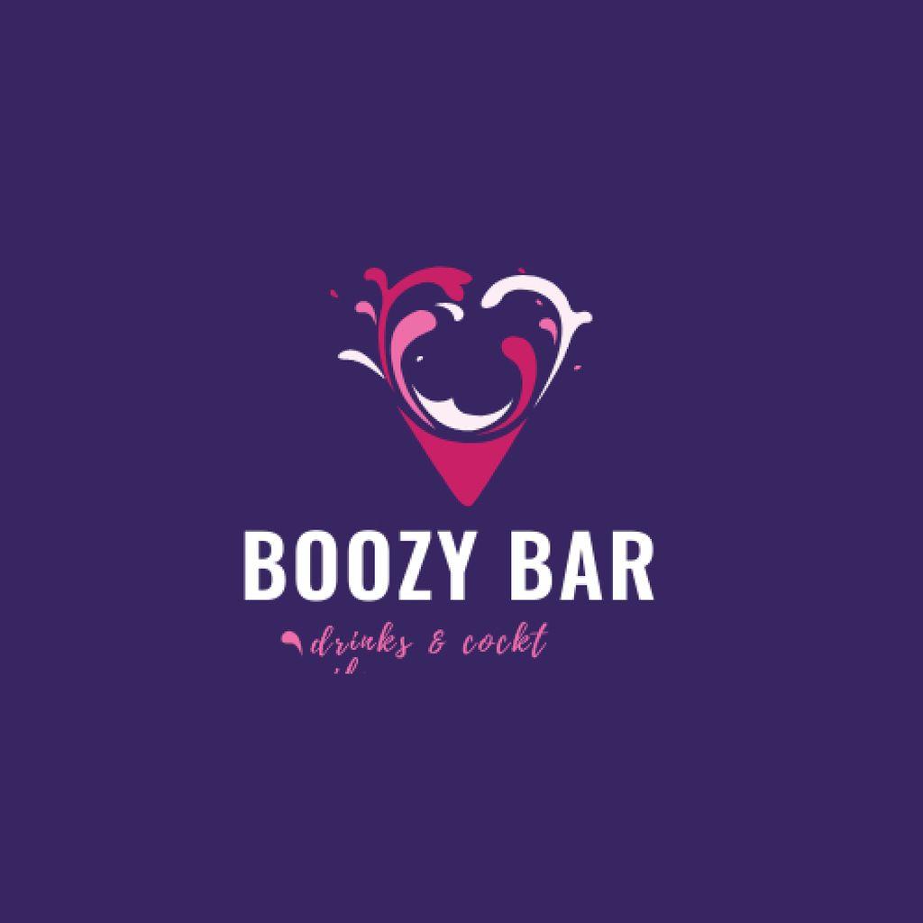 Plantilla de diseño de Bar Promotion with Drink Splashes in Heart Logo