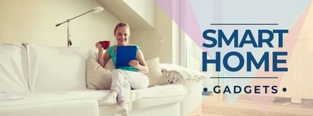 Ontwerpsjabloon van Facebook cover van Smart home gadgets with Woman on sofa