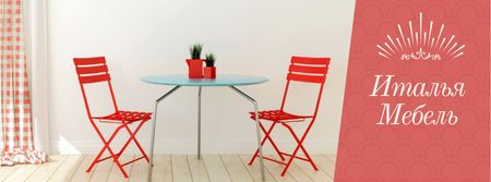 Furniture Advertisement with Red Chairs by Table Facebook cover – шаблон для дизайна