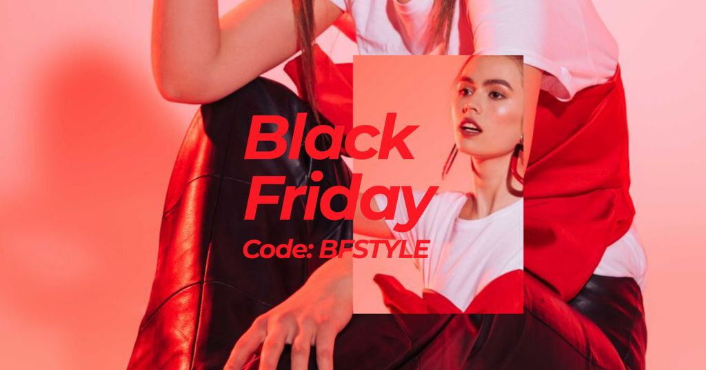 Black Friday Offer with Stylish Woman in Red light Facebook AD Design Template