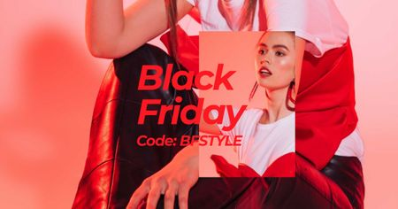 Template di design Black Friday Offer with Stylish Woman in Red light Facebook AD