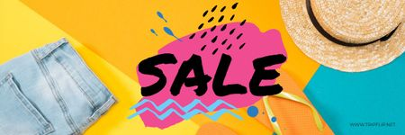Sale bright Offer with Summer Outfit Email header – шаблон для дизайну