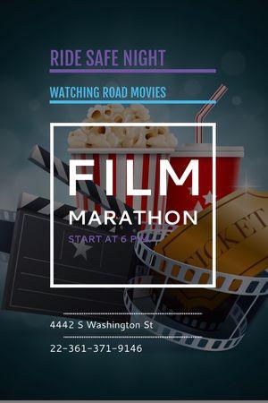 Plantilla de diseño de Film Marathon Night with popcorn Tumblr