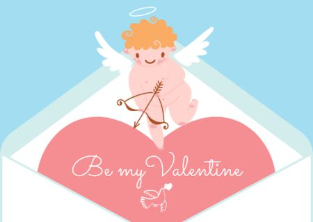 Ontwerpsjabloon van Postcard van Love Quote with Adorable Cupid